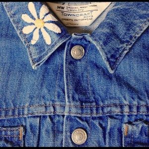 Vintage Jean Jacket Embroidered collar Sz S daisy